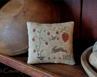 Primitive Sweet Strawberry Pillow Tuck Cross Stitch E Pattern PDF New Pattern
