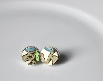 Simple Circle Sterling Silver Broken China Stud Earrings - Indian Tree