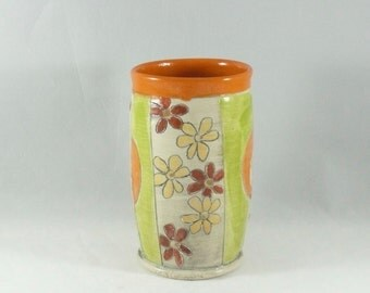 Orange and Green Handmade ceramic desk organizer Tumbler - Pottery Cup holds 18 ounces 307