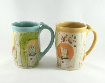 Set of Two Ceramic Coffee Mugs Mother's Day Gift Cups holds 16 ounces, Large Ceramic Tea Cups or Tankard, Beer Stein - Cappucino Mugs