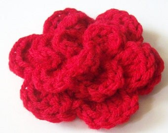 Layered Flower Crochet Applique, Red Crochet Flower Embellishment, Three Layered Crochet Flower, Crochet Flower Motif