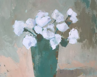original acrylic painting large art wall art white art white roses turquoise green rustic art neautral colors flower painting palette knife