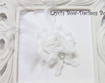White {Ellie} Flower Hair Clip, flower clip, shabby flower, white flower, more colors available