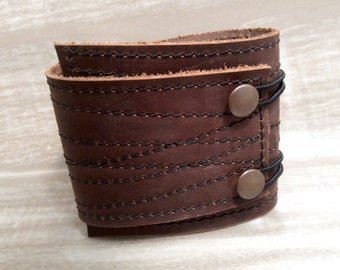WIDE Leather Cuff Wrap Unisex, Stitched/Photo Print Skull, Adjustable Size - SALE - see Listing for Coupon Codes...