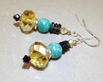 Amazonite Earrings - Smoky Quartz Earrings - Yellow AB Czech Glass - Silver Earrings - Gemstone Jewelry - Dangle Earrings - Gift For Her