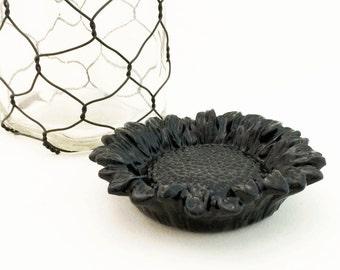 Black Sun flower Tea Bag Holder Skull Cup Accessory Keepsake Trinket Tray Small Ring Dish Ceramic Spoon Rest Desk Accessory Catch All