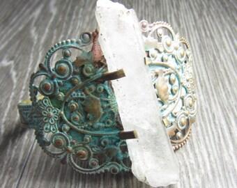 Vintage Organic Bracelet - Brass Stamping Patinaed with Raw Quartz Crystal