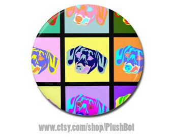 "Dachshund Dog Pop Art 1.25"" or 2.25"" Pinback Pin Button Gifts Jewelry Cute Fun Art Doxie"