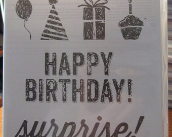 Used Like New! Birthday Surprise Stampin' Up! retired rubber stamp set (6 stamps)
