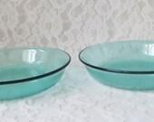 Vintage Arcoroc of France Jardiniere Turquoise Glass Dessert Bowls, Set of 2