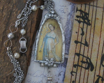 Eternal Grace, soldered pendant, repurposed vintage, antique paste, Madonna, rosary, one of a kind assemblage, upcycled vintage