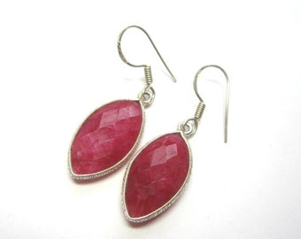CIJ 35% OFF Raw Ruby Marquis Earrings.  Genuine Ruby Earrings. Bezel Set Ruby Earrings. Birthstone Earrings.