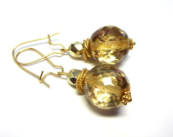 Gold Crystal Earrings. Gold Crystal Ball Earrings. Under 20, Gifts for Her. Stocking Stuffers.