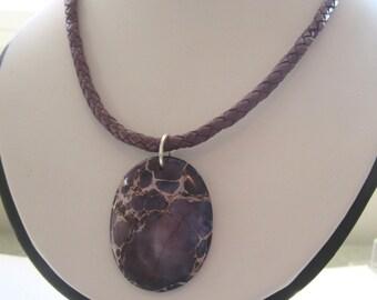 Purple Jasper Pendant.  Braided Purple Leather Cord. 18 Inches.  Banyonet Fastener. Under 25.