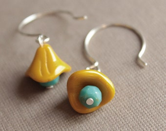Mustard & Turquoise Glass Earrings - Sterling Silver