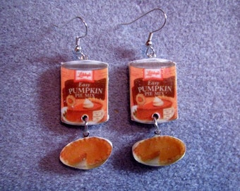 Pumpkin Pie Filling Tin Can with Pie Thanksgiving Kitsch Dangle Junk Food Polymer Clay Earrings Hypo Allergenic Nickle-Free