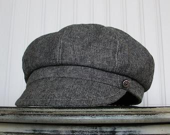 Linen Newsboy Hat - Womens Hats - Womens Newsboy Hat- Black Linen Hat - Newsboy Cap -M