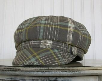 Womens Newsboy Hat- Gray, Yellow and Aqua Plaid - Newsboy Cap - Womens Hats - Fall Hat - M