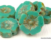 Czech Picasso Beads 12mm Chunky Flower - Turquoise Picasso Czech Glass Beads - 6
