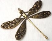 Brass Dragonfly 50x39mm Antique Gold - Brass Ox