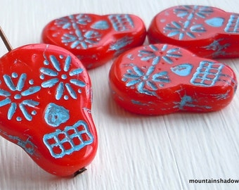 NEW - Sugar Skull Beads - 20mm Sugar Skull Beads - Czech Glass Beads - Opaque Red Turquoise Picasso