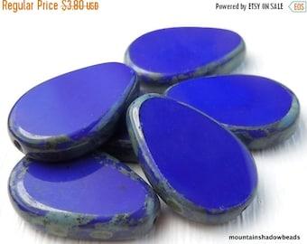 25% OFF Summer Sale Czech Glass Beads 18mm Opaque Blue Picasso Beads - 6