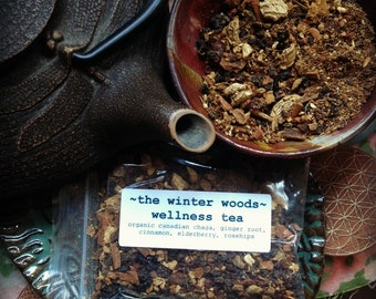 THE WINTER WOODS Wellness Tea Blend One Ounce chaga ginger herbal delicious brew organic and vegan