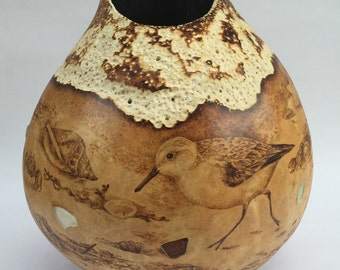 Seaside Shorebirds and Sea Glass pyrography carved Gourd Art Vase