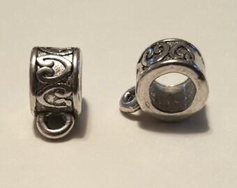 Heart Barrel Bails - 15 pcs. - Silver Barrel Bails - Tibetan Silver - Silver Bails - Lead Free - Nickel Free - Cadmium Free