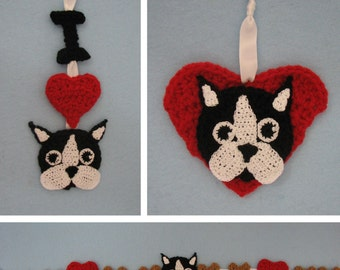Boston Terrier Ornaments and Garland Crochet Pattern In USA Terms, PDF, Digital Download