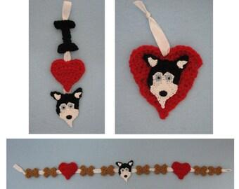 Crochet Pattern - Husky Ornaments and Garland Crochet Pattern - Dog Ornament Pattern - Christmas Pattern - Digital Download