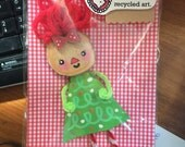 Small Recycled Art Doll raggedy Ann Christmas tree