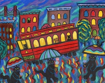 ORIGINAL PAINTING, Seven Black Cats on San FranciscoHill on a Rainy Night by the Cable Car, by DM Laughlin
