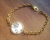 Whooter Owl Charm Brass Bracelet - Wedding Bridesmaid Gifts - Personalized gift for her - Bridal party gift -  Layering bracelet  LARGE