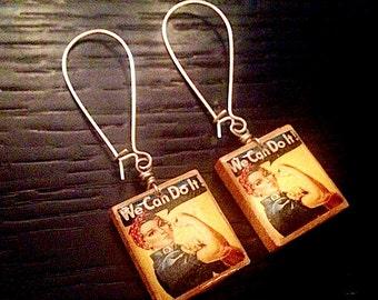 Rosie the Riveter Print Scrabble Earrings - Repurposed Recycled -  jewelry - Repurposed - Upcycled Earrings