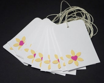 Flowers and Hearts, peach and pink gift tags, set of 12, scrapbook embellishment, hang tag, label