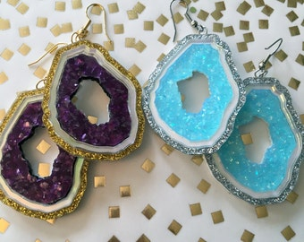 Geode Acrylic Laser Cut Earrings in Purple or Blue