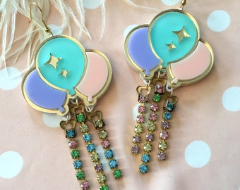 Pastel Balloon and Rhinestone Laser Cut Acrylic Earrings