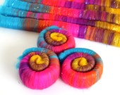 Punis Rolags Merino Wool & Angelina Sparkle hand carded Mardi Gras Sparkle  XL
