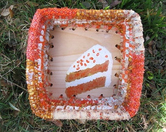 BAKERY SHOPPE SERIES  textile art Basket tray box  Carrot Cake