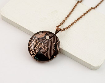 Copper Circuit Board Necklace - Recycled Computer Jewelry - Motherboard Necklace - Gift for Her