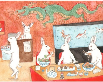 Fine Art Rabbit Print - Sushi and Noodles
