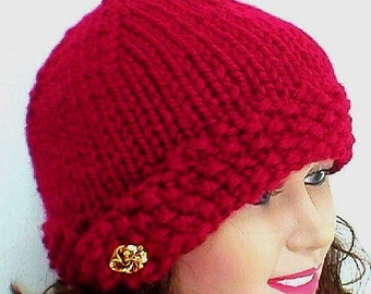 Cranberry red cloche hat with a gold button, beanie hat, knit toque, ruby red garnet hat, bulky knit hat, winter hat, womens hat, chemo cap