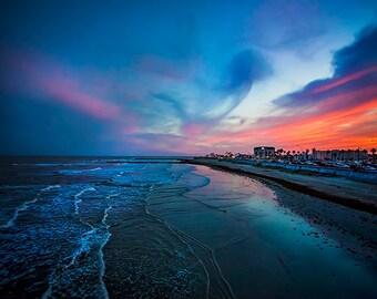 Galveston Sunset - Seawall Photo, Texas Photography, Beach Photo, Gulf Coast, Blue, Evening, Landscape Photo