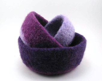 Felted wool nesting bowls - felted bowl set - plum, amethyst and lilac