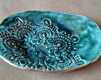 Ceramic Lace Malachite Green Trinket Dish edged in gold