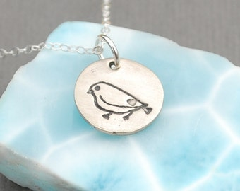 SPARROW necklace, round LOVE sparrow pendant,  nickel free white bronze. Handcrafted by Chocolate and Steel