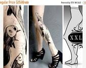 SALE25%off/// new: XXL sexy Aquarium tattoo tights / stockings /  full length  / pantyhose / nylons Ultra PALE tattoosocks tattootights