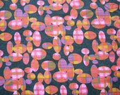 Vintage cotton fabric tartan, plaid, bright pink, denim Logantex Original, groovy