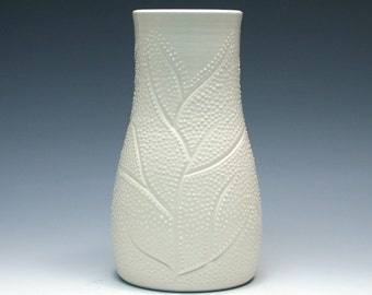 White Vase with Branches and Dots